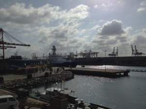 R/V Roger Revelle awaiting the arrival of the science party in the port of Colombo, Sri Lanka